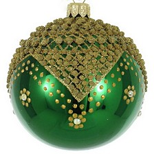 "Shiny Green & Gold 4 Pc Set of Mouth Blown & Hand Decorated European Glass 4"" Round Holiday Ornaments"