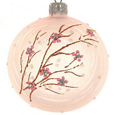"Pastel Sprig 4 Pc Set of Mouth Blown & Hand Decorated Glass European 4"" Round Holiday Ornaments"