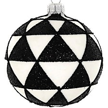"Black & White 4 Pc Set of Mouth Blown & Hand Decorated Glass European 4"" Round Holiday Ornaments"