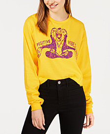 Mighty Fine Juniors' Cotton Lion King Positive Vibes Long-Sleeve Top