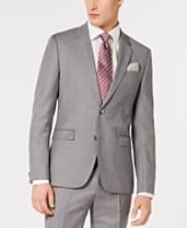 5d6e28331 HUGO Men's Slim-Fit Gray/Pink Micro-Pattern Suit Jacket