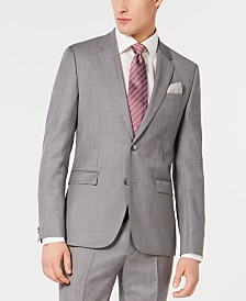 HUGO Men's Slim-Fit Gray/Pink Micro-Pattern Suit Jacket