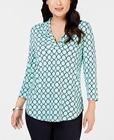 Pleated V-Neck Printed Knit Shirt, Created for Macy's