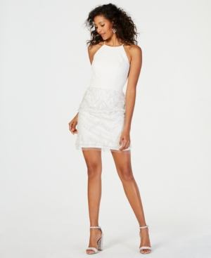 Image of Aidan by Aidan Mattox Embroidered Fringe Fit & Flare Dress