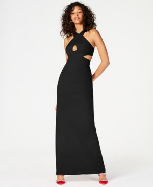 Image of Aidan by Aidan Mattox Sleeveless Cutout Scuba Gown