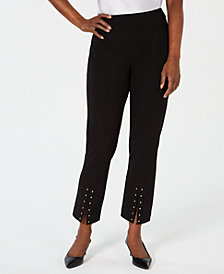 JM Collection Petite Stud-Trim Split-Hem Pants, Created for Macy's