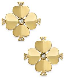 Kate Spade New York  Gold-Tone Crystal Flower Stud Earrings