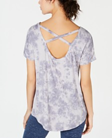 Ideology Tie-Dyed Strappy-Back High-Low Hem T-Shirt, Created for Macy's