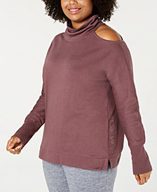 Calvin Klein Performance Plus Size Mock-Neck Cold-Shoulder Top