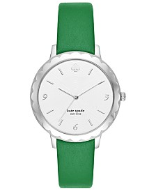 kate spade new york Women's Scallop Green Leather Strap Watch 38mm