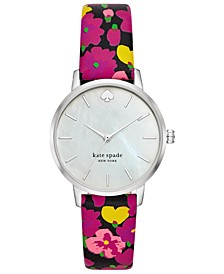 Women's Metro Multicolored Floral Leather Strap Watch 34mm
