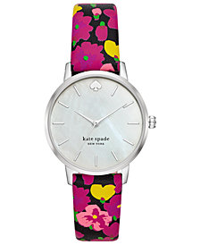kate spade new york Women's Metro Multicolored Floral Leather Strap Watch 34mm