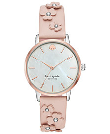 kate spade new york Women's Metro Pale Vellum Leather Strap Watch 34mm