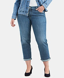 Trendy Plus Size  Cuffed Boyfriend Jeans