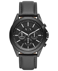 Men's Chronograph Drexler Black Leather Strap Watch 44mm