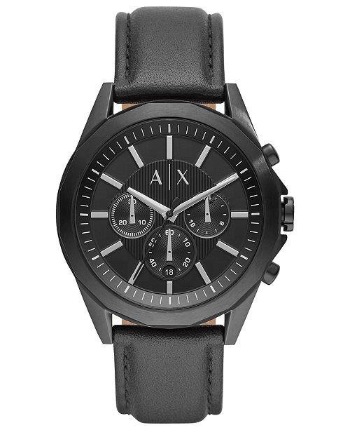 Armani Exchange A|X Men's Chronograph Drexler Black Leather Strap Watch 44mm