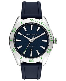 Men's Enzo Blue Silicone Strap Watch 46mm