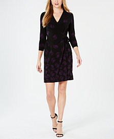 Anne Klein Therese Printed Faux-Wrap Dress