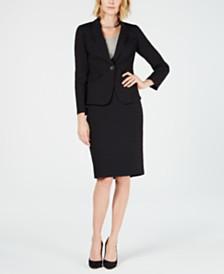 Le Suit Plaid One-Button Skirt Suit