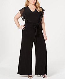 Tommy Hilfiger Plus Size Ruffled Wide-Leg Jumpsuit, Created for Macy's