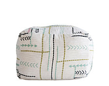 Square Pouf w/Embroidery