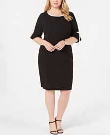 Connected Plus Size Tie-Sleeve Sheath Dress