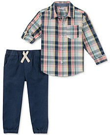 Little Boys 2-Pc. Plaid Woven Shirt & Jogger Pants Set