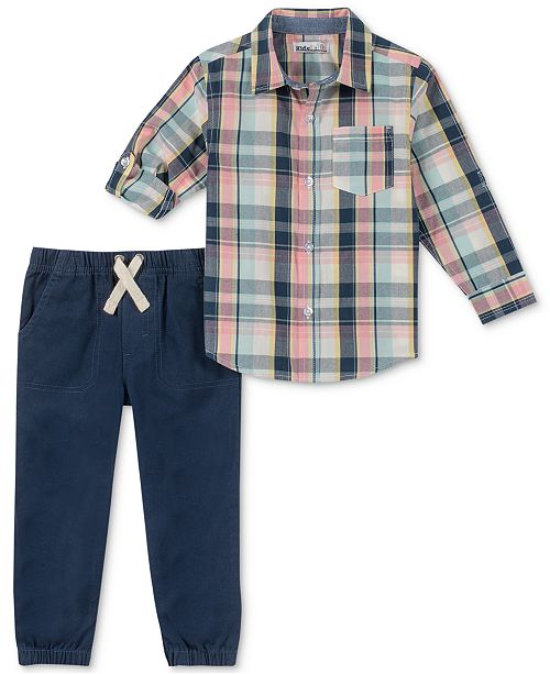 Kids Headquarters Little Boys 2-Pc. Plaid Woven Shirt & Jogger Pants Set