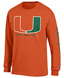 Champion Men's Miami Hurricanes Co-Branded Long Sleeve T-Shirt
