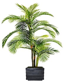 "90"" Tall Palm Tree Artificial Indoor/ Outdoor Lifelike Faux in Fiberstone Planter"