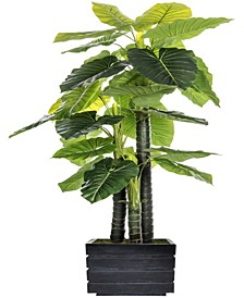 "78"" Tall In/Outdoor Elephant Ear Plant Artificial Indoor/ Outdoor Decorative Faux in Fiberstone Planter"