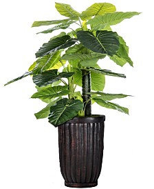 "Laura Ashley 93"" Tall Indoor-Outdoor Elephant Ear Plant Artificial Indoor/ Outdoor Decorative Faux in Fiberstone Planter"
