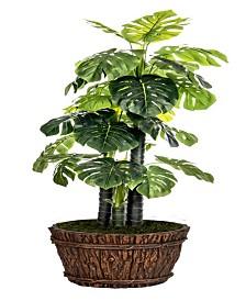 """Laura Ashley 80"""" Tall Indoor-Outdoor Monstera Ceriman Artificial Indoor/ Outdoor Lifelike Faux in Fiberstone Planter"""