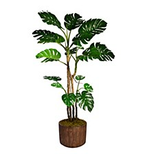 "76.8"" Tall Monstera Artificial  Faux Home Decor with Burlap Kit In 12.8"" Brown Wood-like Fiberstone Planter"