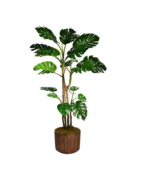 "Laura Ashley 76.8"" Tall Monstera Artificial  Faux Home Decor with Burlap Kit In 12.8"" Brown Wood-like Fiberstone Planter"