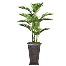 """Laura Ashley 66.8"""" Tall Palm Tree Artificial  Decorative Faux with Burlap Kit and Fiberstone Planter"""