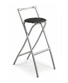 Folding Bar Stools in Leatherette Seat