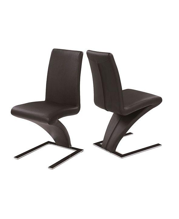 New Spec Inc New Spec Z-Shape Leatherette Side Chair Set of 2 Pieces