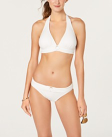 MICHAEL Michael Kors Logo-Ring Halter Bikini Top & Bikini Bottoms, Created for Macy's