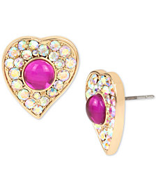 Betsey Johnson Gold-Tone Stone & Crystal Stud Earrings