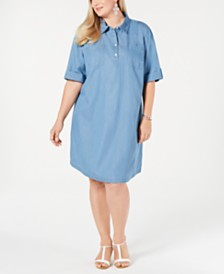 Karen Scott Plus Size Cotton Short-Sleeve Chambray Shirtdress, Created for Macy's