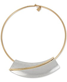 """Two-Tone Geometric 17"""" Collar Necklace"""