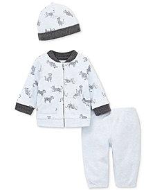 Little Me Baby Boys 3-Pc. Cheetah-Print Cotton Cardigan, Pants & Hat Set