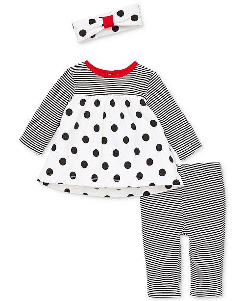 e724d33d1fc7d ... Little Me Baby Girls 3-Pc. Stripe & Dot Tunic, Leggings & Headband ...