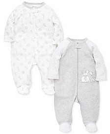 Little Me Baby Boys or Girls 2-Pack Footed Cotton Coveralls