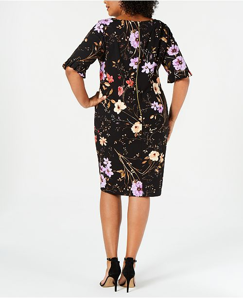 15d1f01ac34 ... Calvin Klein Plus Size Floral-Print Sheath Dress ...
