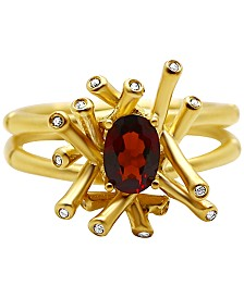 Kesi Jewels Garnet (3/4 ct. t.w.) and Diamond Accent Ring in 18k Gold over Sterling Silver
