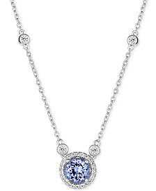 """Sapphire (1 ct. t.w.) and White Topaz (1/2 ct. t.w.) 18"""" Pendant Necklace in Sterling Silver (Also Available In Tanzanite, Certified Ruby & Emerald)"""