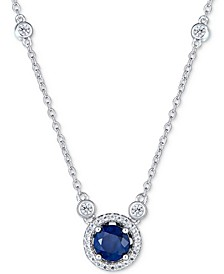 "Sapphire (1 ct. t.w.) and White Topaz (1/2 ct. t.w.) 18"" Pendant Necklace in Sterling Silver (Also Available In Tanzanite, Certified Ruby & Emerald)"