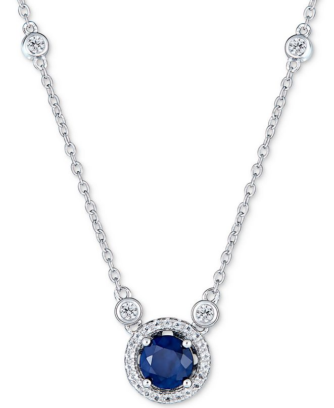 """Macy's Sapphire (1 ct. t.w.) and White Topaz (1/2 ct. t.w.) 18"""" Pendant Necklace in Sterling Silver (Also Available In Tanzanite, Certified Ruby & Emerald)"""